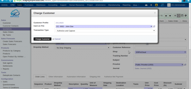 Cloud ERP Authorize.Net Integration with Cloud ERP