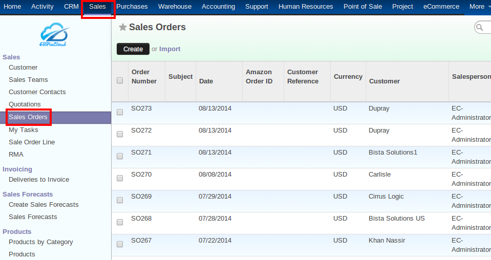 Cloud ERP Sales Orders