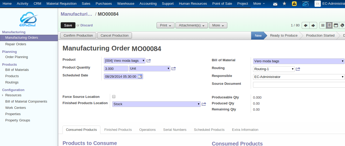 Cloud ERP Manufacturing Order Number