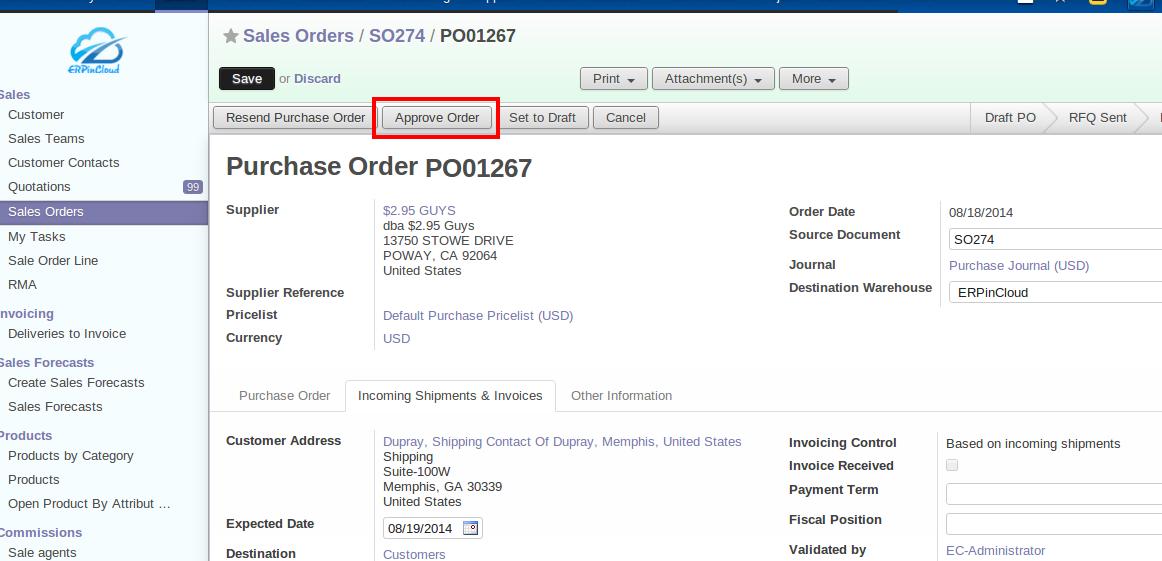 Cloud ERP Approve order