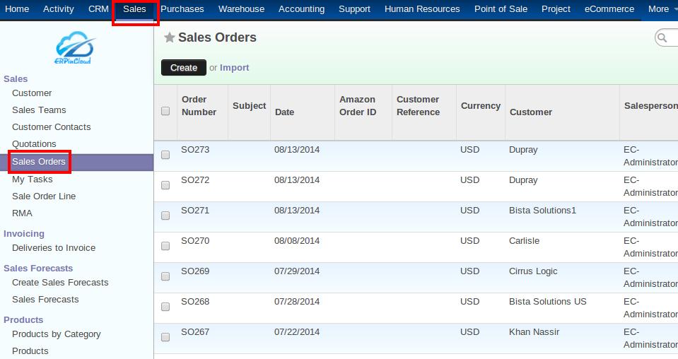 Cloud ERP Sales Orders